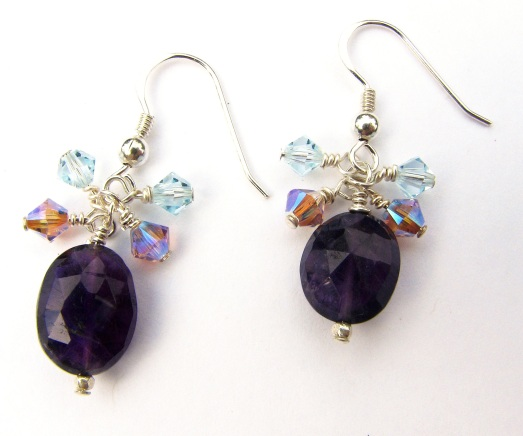 faceted amethyst earings with purple and blue Swarovski crystals