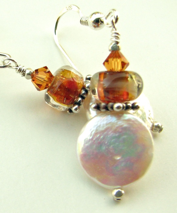 Art Glass, Bali Silver and Coin Pearl Earrings