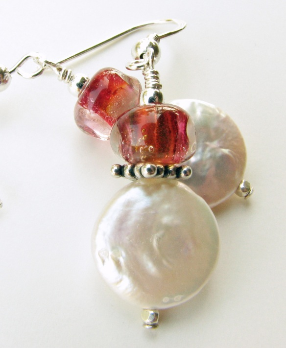 Hand faceted lampwork glass in pink and clear earrings with coin pearls and sterling silver