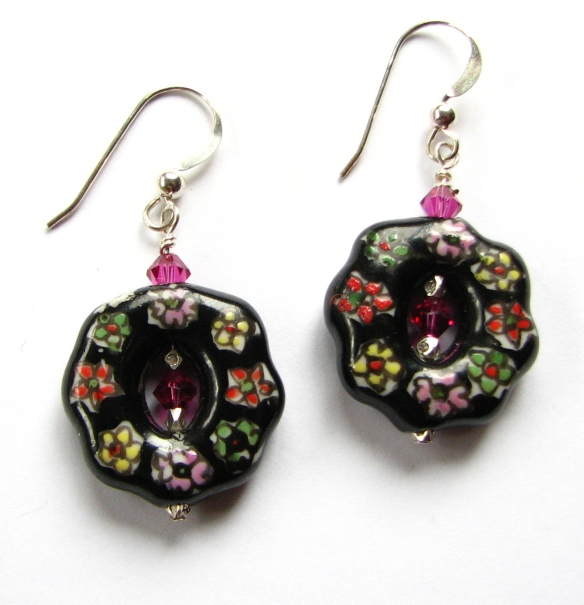 Black porcelain earrings, hand painted with pink and white flowers