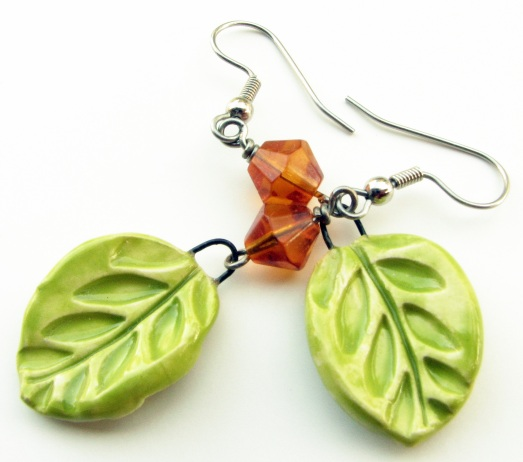 OOAK Green Ceramic Leaf and Amber Swarovski Crystal Earrings
