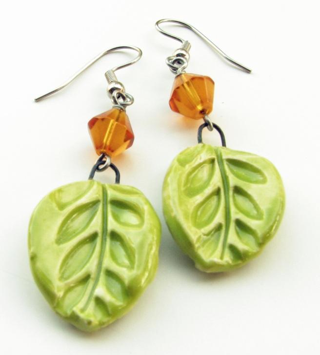 Green and Amber Cermaic Leaf Earrings