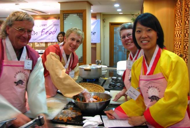 Finishing up making the Kimchi