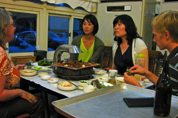 preparing bulgogi at our table in Korea