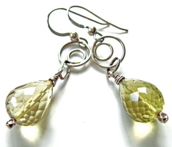 Faceted Lemon Quartz Teardrop Earrings