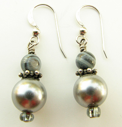 Classic silver gray earrings with sterling silver ear wires
