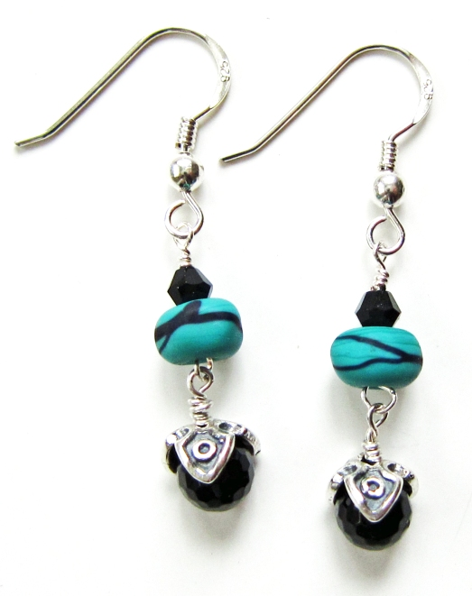 Turquoise and Black Lampwork Earrings with Onyx and Sterling Silver