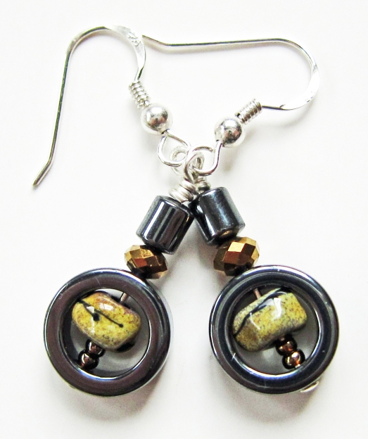 Black and Beige Lampwork Earrings with Hematite