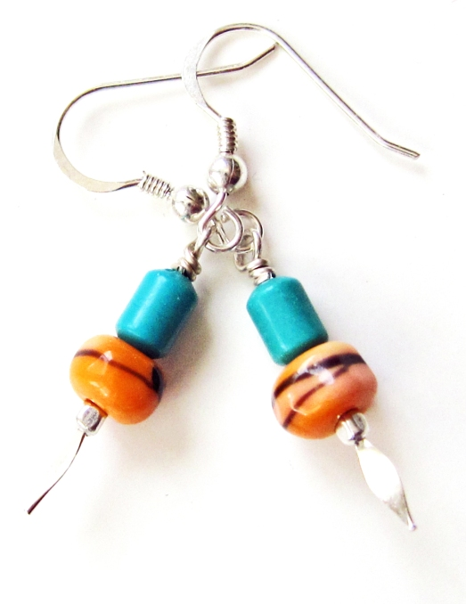 Orange Lampwork Glass earrings with Turquoise