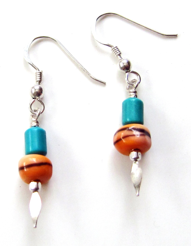 Lampwork earrings in orange with black accents and turquoise