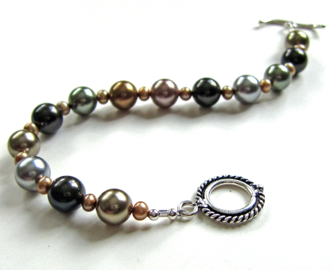 Handmade Pearl and Sterling Silver Bracelet by Linda Landig