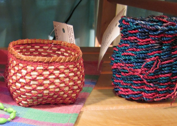 Handmade basket booth at the arts & crafts show Dec 11th