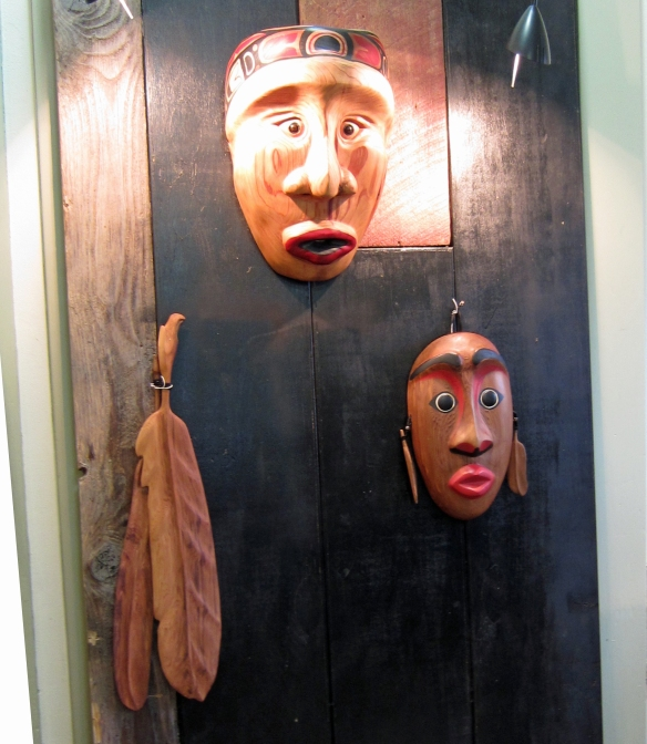 carved wooden masks by a Cowlitz Tribal member