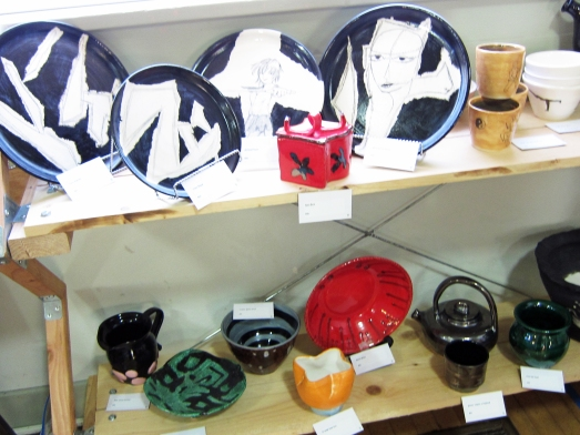 Black and white ceramics, with a punch of red