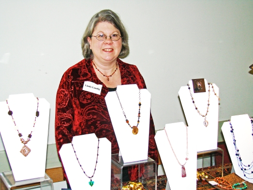 Linda Landig's jewelry booth at the art show