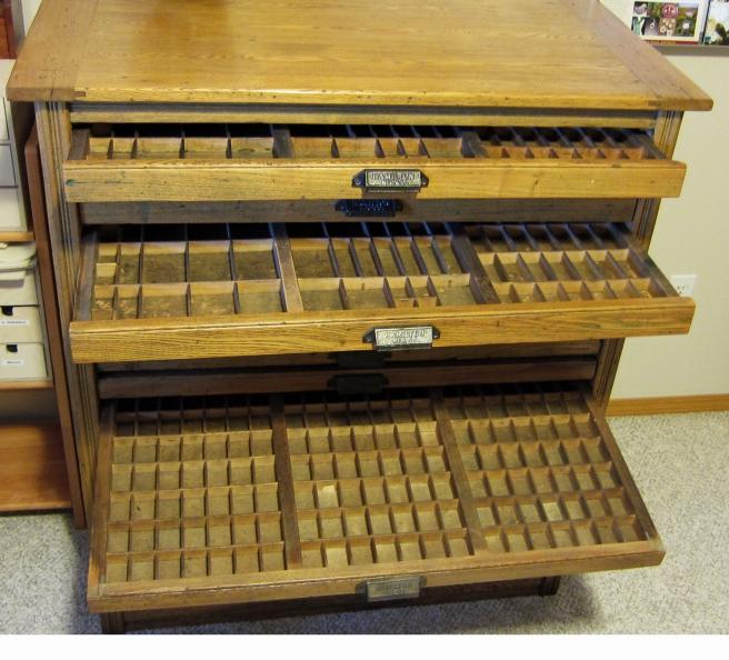 Antique Oak Hamiton Printers Cabinet