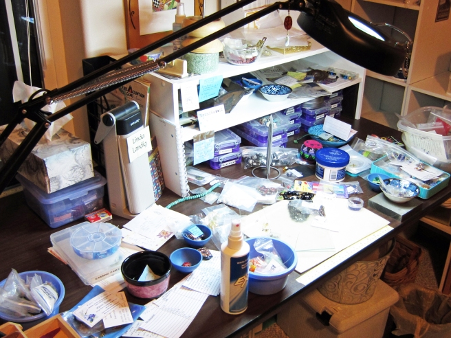 messy jewelry worktable