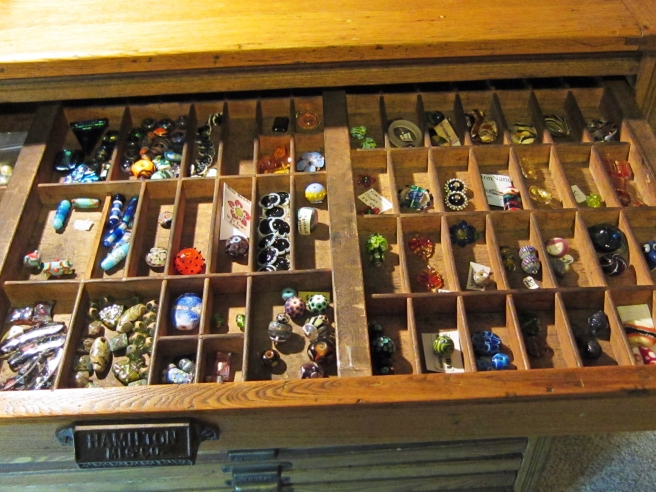 art glass drawer in my Printers Cabinet