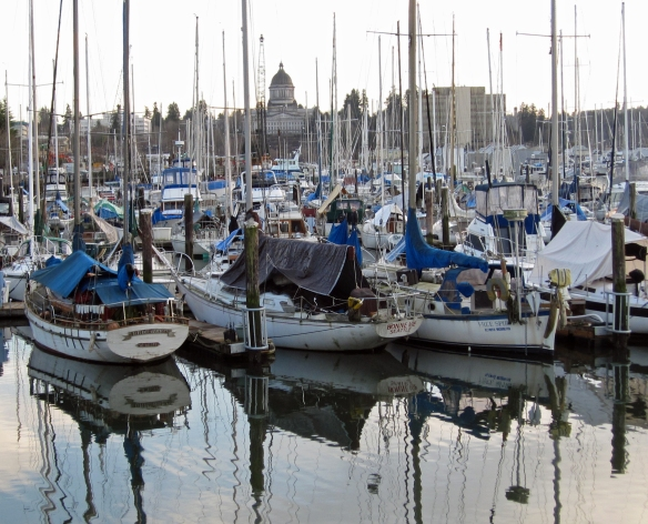 Boats in foreground, WA state capitol in background