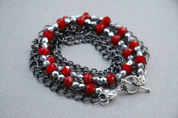 Little Bit Naughty Red Velvet and Black Chain Necklace