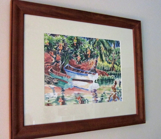 Watercolor painting of boats in the mangroves of Costa Rica