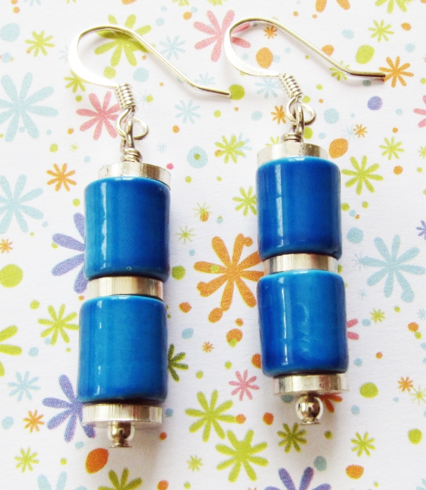 Linear turquoise and silver earrings