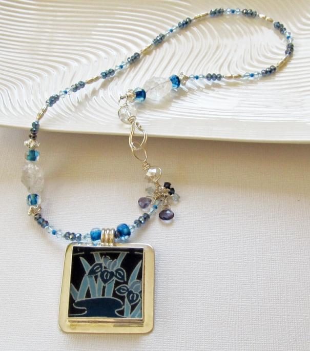 Blue handmade necklace by Linda Landig