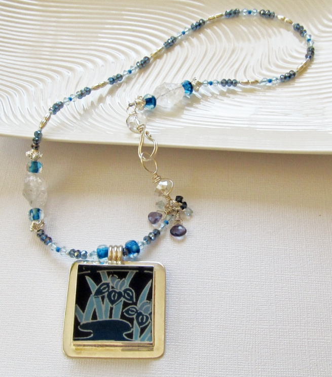 Blue handmade necklace by Linda Landig