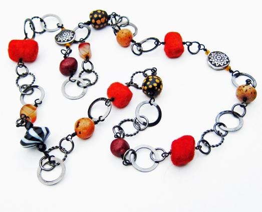 long necklace with gunmetal chain, ceramic, glass, felt and carnelian