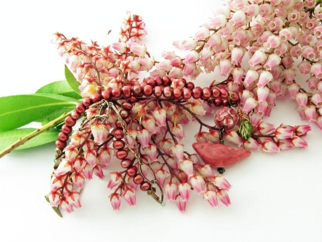 Pink ceramic bird pendant