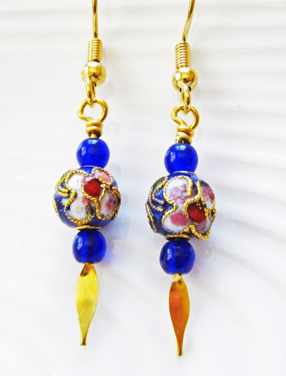 Blue and gold tone bead earrings
