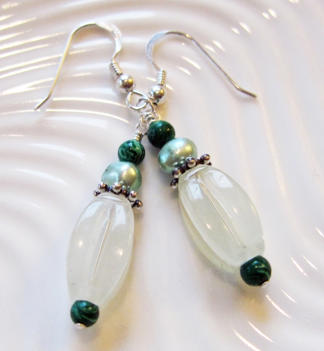 Jade, pearl and malachite earrings