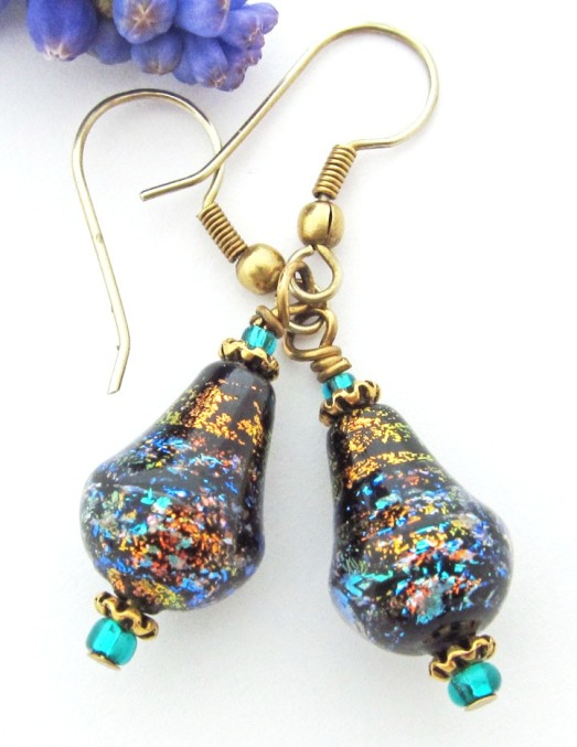 dichroic earrings in black, turquoise and orange