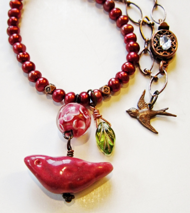 Ceramic, lampwork glass, pearl and copper chain necklace