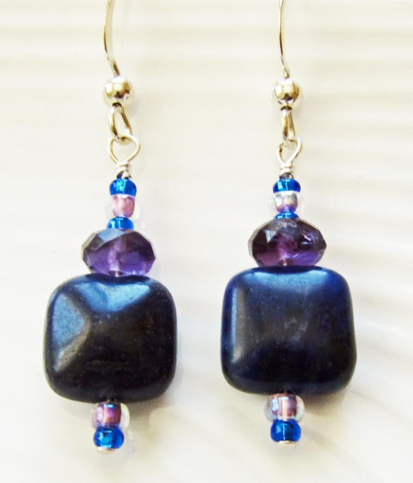 Sodalite, Amethyst and Sterling Silver Earrings