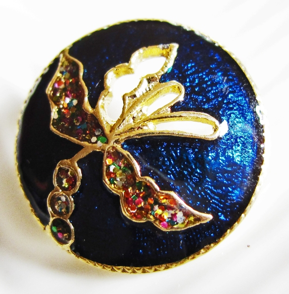 Blue floral Thai cloisonne button