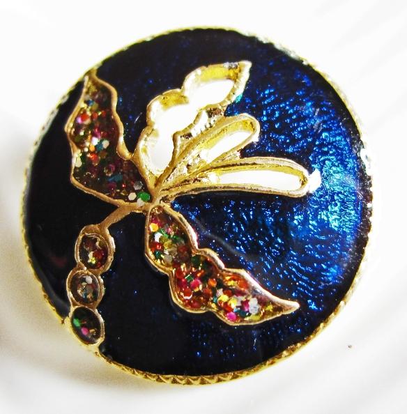 Blue floral Thai cloisonne button