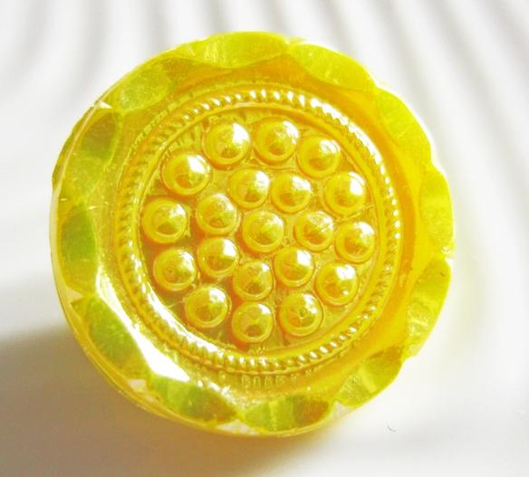 Textured, yellow German glass vintage button
