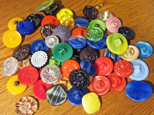 multi colored vintage glass buttons