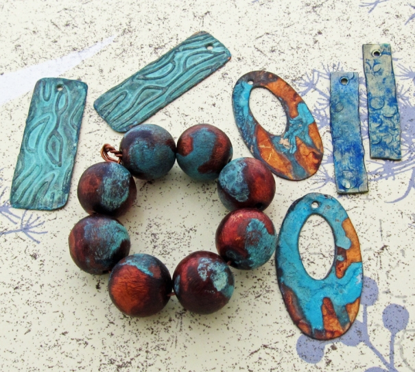 copper and brass earring components and copper beads with patina