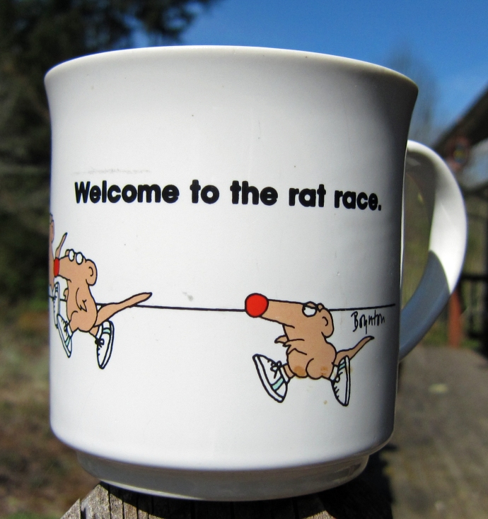 "Mug with running rats that says, ""Welcome to the rat race."""