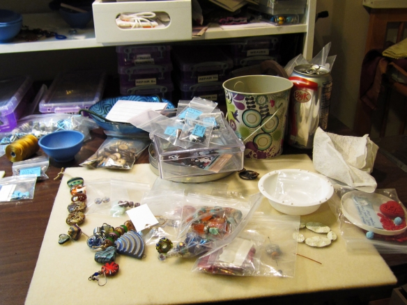 Linda Landig's jewelry work table