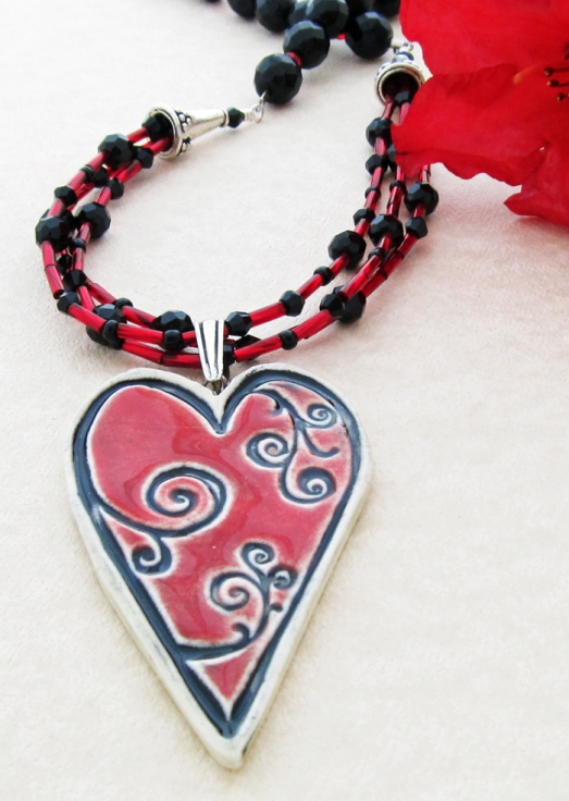 Black and Red heart necklace