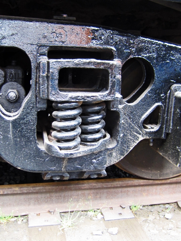 two metal coils on an old train