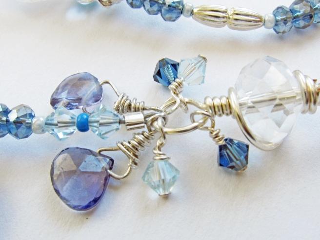 Blue Iris necklace, clasp close up