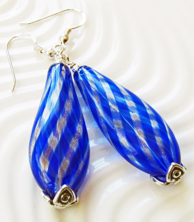 blown glass teardrop shaped earrings