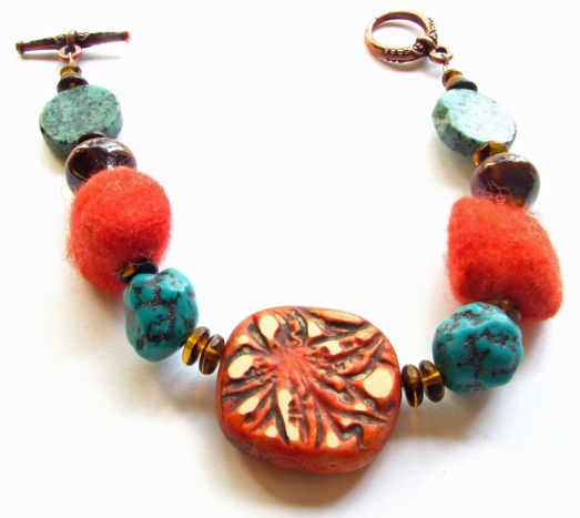 bracelet of polymer clay, turquoise, felt, ceramic and glass