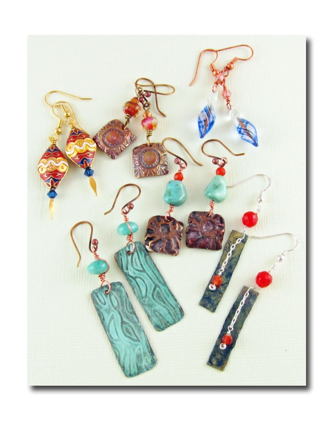 six pairs of handmade earrings
