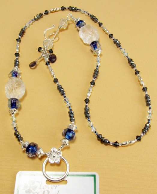 Lanyard of rock crystal, iolite, lampwork beads and glass