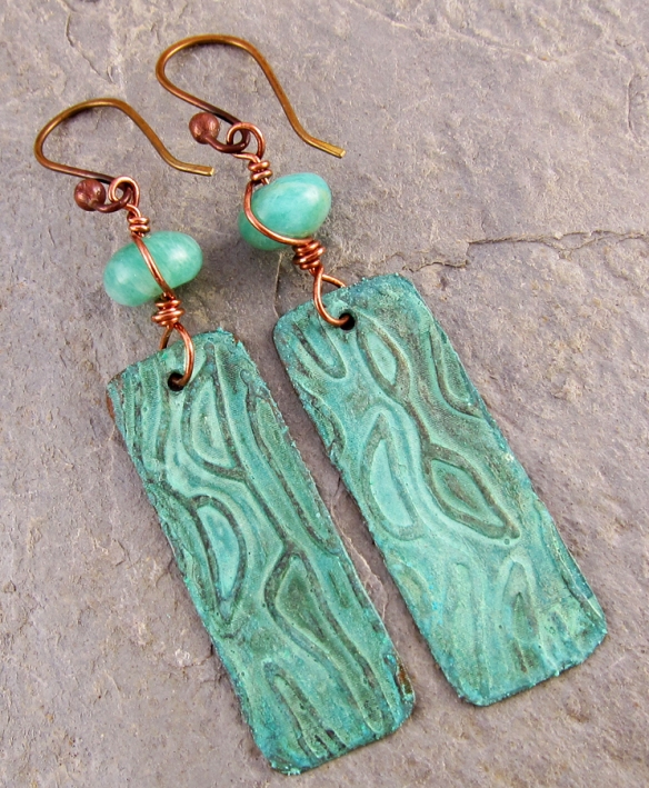 Wave earrings, brass and amazonite, handmade